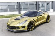 gold chrome wrapped corvette tuning forgiato 5 190x127 Corvette C7 mit Gold Folierung und Forgiato Widebody Kit