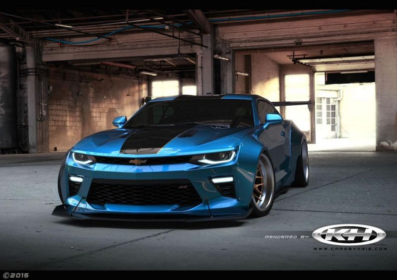 2016 chevrolet camaro gets extreme liberty walk kit 1 2016 Chevrolet Camaro mit Liberty Walk Style Breitbau Kit