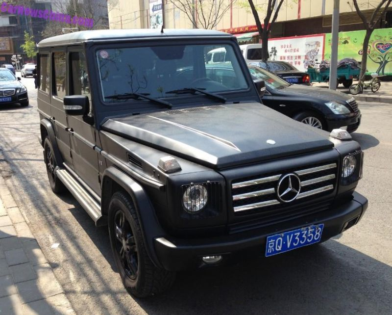 mercedes g matte black tuning china 1 Mercedes Benz G500 Mattschwarz in China fotografiert