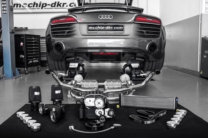 old audi r8 v10 supercharged to 850 1 Kompressor Power für den Audi R8 V10 von Mcchip DKR