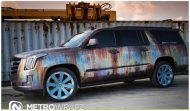 Cadillac Escalade Rust Chrome 2 190x111 Cadillac Escalade Rat Look Folierung by Metro Wrapz
