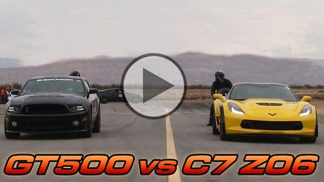 Chevrolet Corvette C7 Z06 vs 2014 Ford Shelby GT500 Video: Dragerace   Corvette C7 Kompressor vs. Shelby Mustang GT500