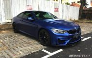 Frozen Blue BMW M4 tuning 1 190x120 Mattblaue Lackierung & IND Tuning Parts am BMW M4 F82