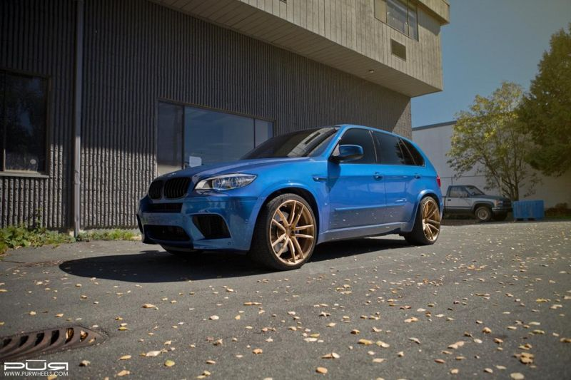 BMW X5M On PUR RS01 By PUR Wheels 1 22 Zoll PUR Wheels PUR RS01 am BMW X5M in Blau