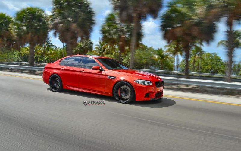 Strasse Wheels 780whp BMW F10 M5 21  SM5R Deep Concave Monoblock Wheels 3 21 Zoll Strasse Wheels SM5R am BMW M5 F10 in Rot
