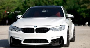 Alpine White BMW M3 With Aftermarket Aero And Wheles Installed 3 310x165 Tief & Fett   BMW M3 F80 mit Velos S3 Alu's in 20 Zoll