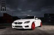Alpine White BMW M6 Gran Coupe Gets Red Wheels 4 190x124 Candyrote 22 Zoll ADV.1 Wheels am BMW M6 Gran Coupe