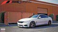 BMW 435i AWE Tuning Exhaust Side Profile Front Angle Mod Auto 1 190x107 BMW 435i F32 mit AWE Sportauspuff by ModBargains