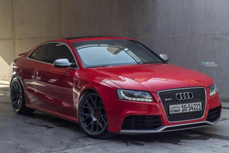 Audi RS5 BBS CH R wheels red gold centercaps Michelin PSS 1 Top   Audi RS5 Coupe auf grauen BBS CH R Alu's