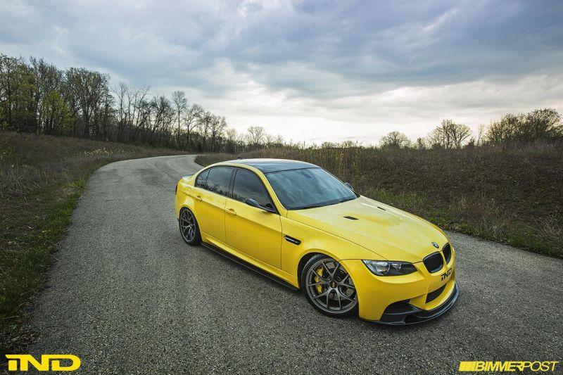 BMW E90 M3 Dakar Yellow Varis diffuser 3ddesign carbon bbs wheels custom 1 Mal was anderes   BMW E90 M3 in Gelb by iND Distribution