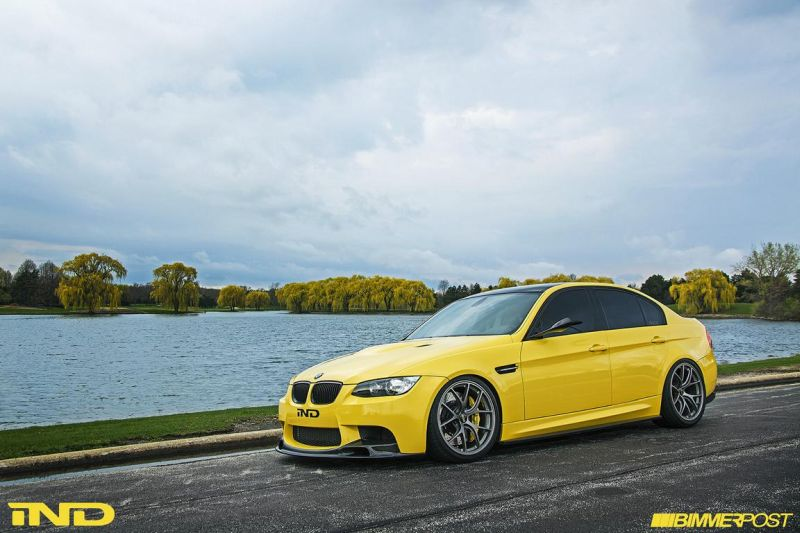 BMW E90 M3 Dakar Yellow Varis diffuser 3ddesign carbon bbs wheels custom 2 Mal was anderes   BMW E90 M3 in Gelb by iND Distribution
