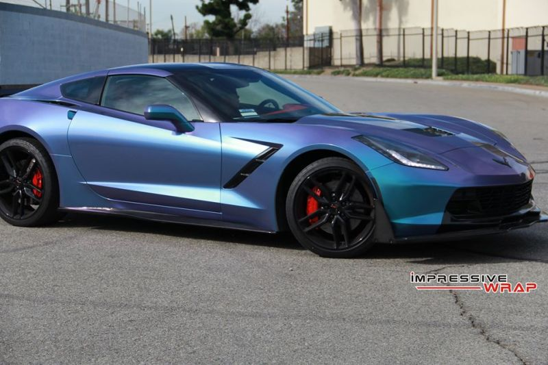 Lavender Turquoise Corvette Stingray impressive wrap 1 Chevrolet Corvette Stingray C7 Z06 in Lavendel by Impressive Wrap