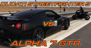 nissan gtr and ducati streetfighter s engage in an 1 310x165 Video: Nissan GT R Alpha 7 GTR vs. Ducati Streetfighter S
