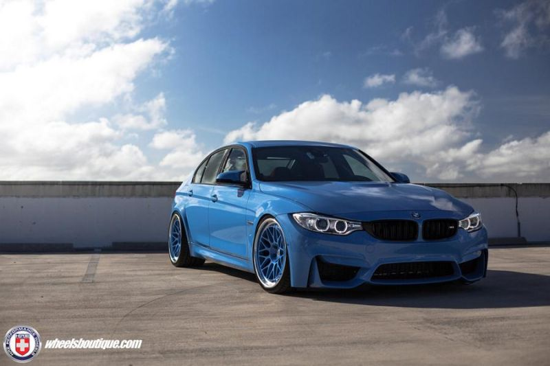 BMW F80 M3 HRE Wheels 300 Classic Yas Marina 1 1 HRE 300 Classic Wheels am blauen BMW F80 M3