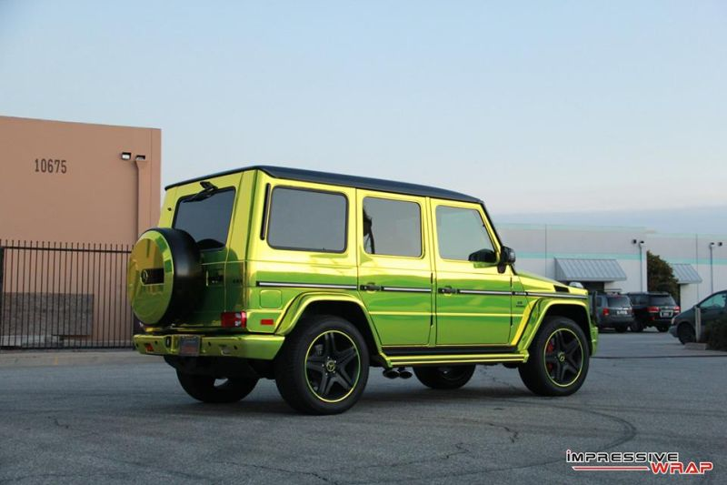 Lime Green Mercedes G Class tuning car 3 Chromgrüne Folierung am Mercedes G von Impressive Wrap