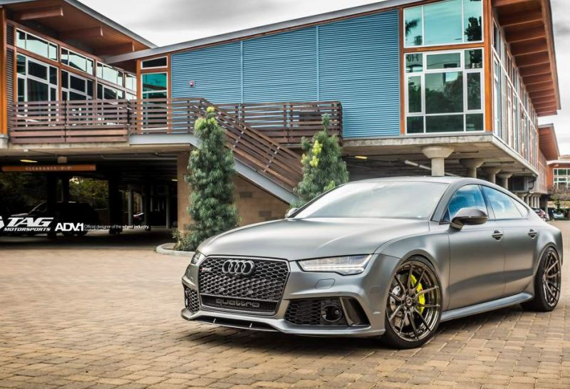 audi rs7 matte grey forged custom adv1 wheels lowered stance flush san diego s7 h 1 Audi A7 RS7 auf 21 Zoll ADV.1 Wheels ADV5.0 MV2 CS