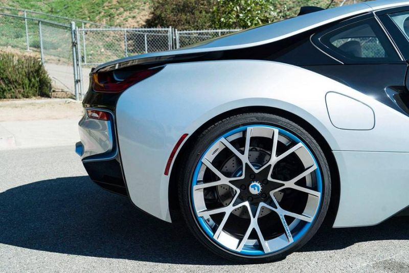 22 Zoll Forgiato Wheels BMW i8 blau Tuning 7 Schicke 22 Zoll Forgiato Wheels am BMW i8