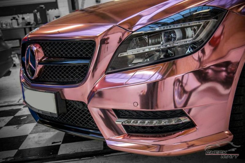 Check Matt Dortmund Mercedes Benz CLS Rose Chrome Folierung 1 Krasses Teil   Check Matt Dortmund Mercedes CLS in Rose Chrome