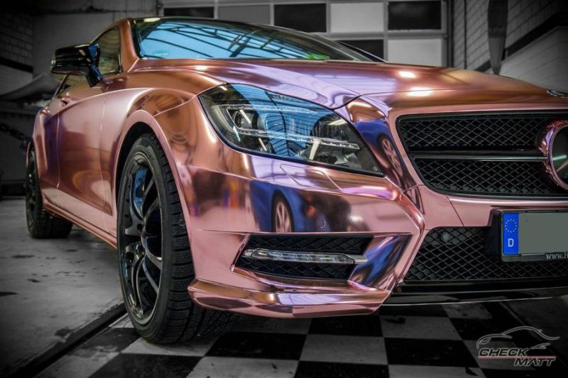 Check Matt Dortmund Mercedes Benz CLS Rose Chrome Folierung 8 Krasses Teil   Check Matt Dortmund Mercedes CLS in Rose Chrome