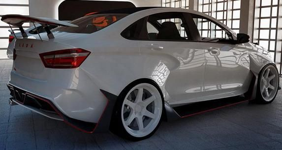 Lada Vesta mit AvtoVAT Widebody Kit 4 Verrückt Lada Vesta mit AvtoVAT Widebody Kit