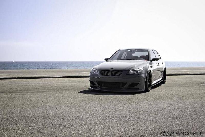 Grigio Telesto BMW E60 M5 mit KW HRE Alufelgen 2 Grigio Telesto grauer BMW E60 M5 mit KW & HRE Alufelgen