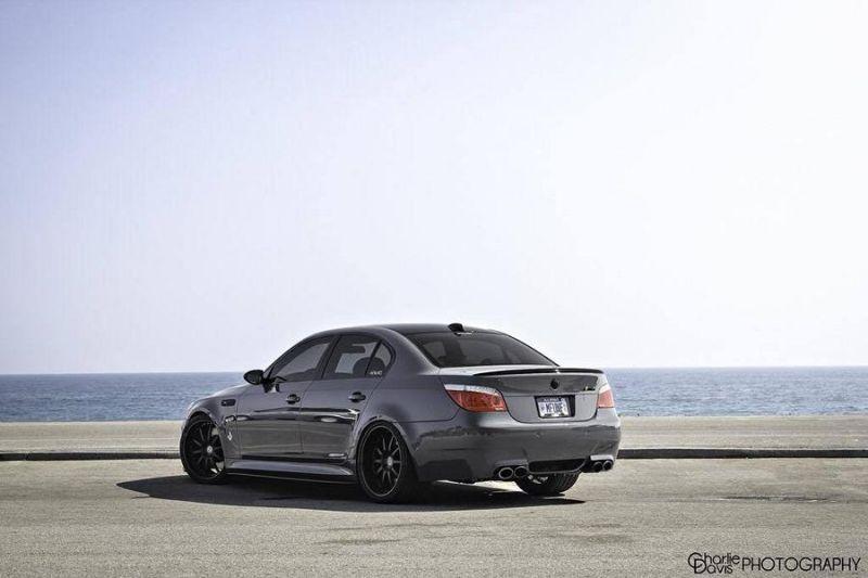 Grigio Telesto BMW E60 M5 mit KW HRE Alufelgen 4 Grigio Telesto grauer BMW E60 M5 mit KW & HRE Alufelgen