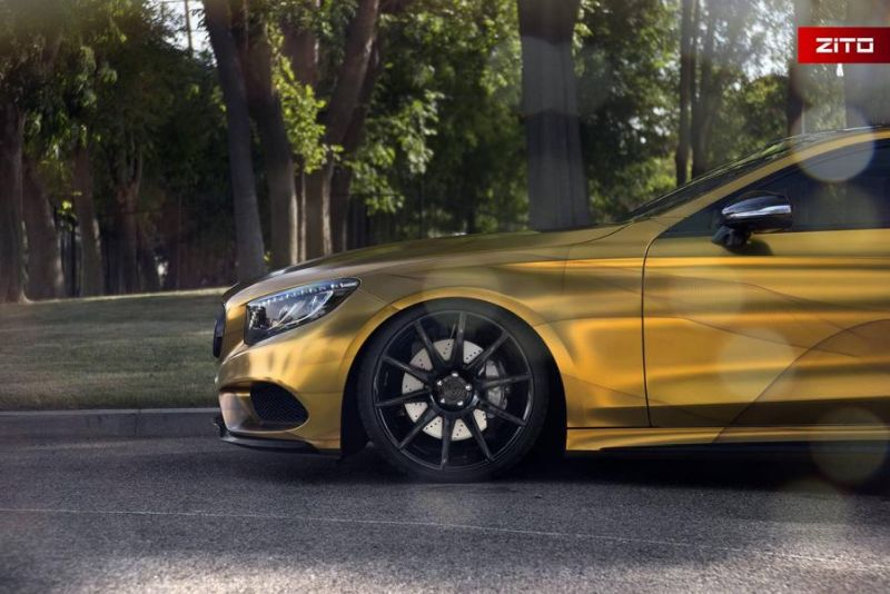 Impressive Wrap Mercedes C217 Gold Folierung Wrapping Zito Tuning 10