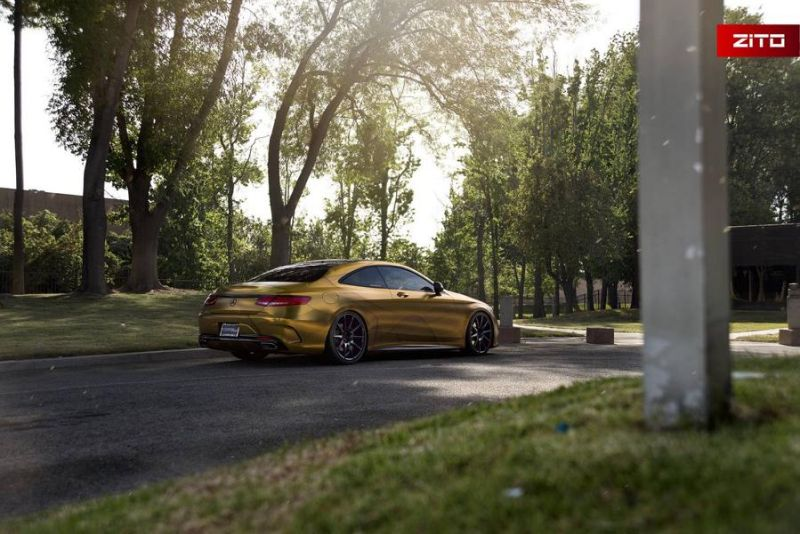 Impressive Wrap Mercedes C217 Gold Folierung Wrapping Zito Tuning 12