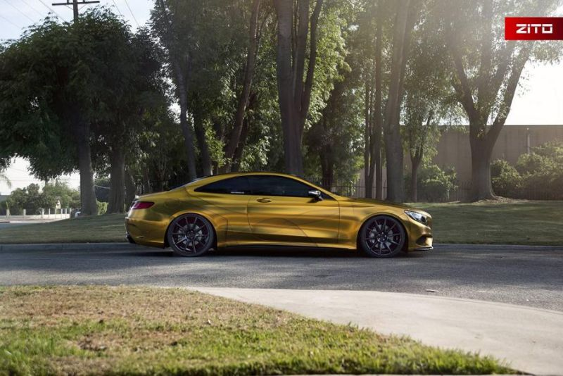 Impressive Wrap Mercedes C217 Gold Folierung Wrapping Zito Tuning 2