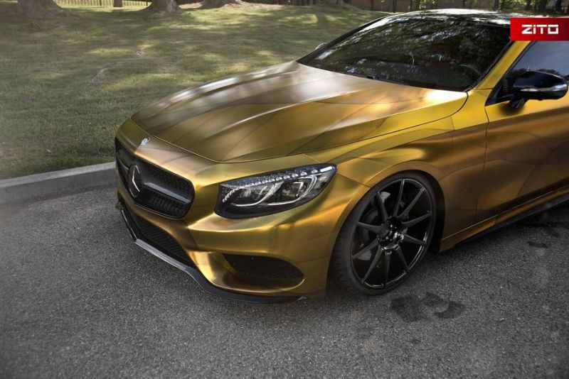 Impressive Wrap Mercedes C217 Gold Folierung Wrapping Zito Tuning 8