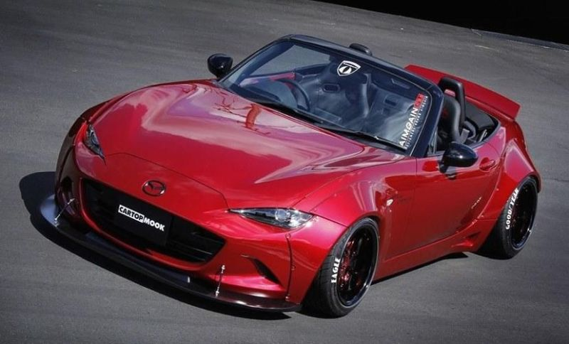 doppelte breite aimgain mazda mx 5 mit widebody kit. Black Bedroom Furniture Sets. Home Design Ideas