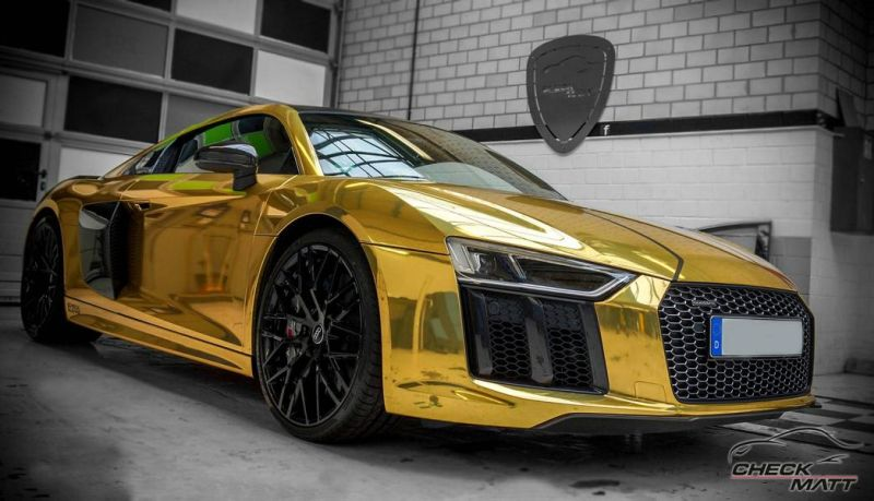 neuer audi r8 mit gold chrom folierung by check matt dortmund magazin. Black Bedroom Furniture Sets. Home Design Ideas