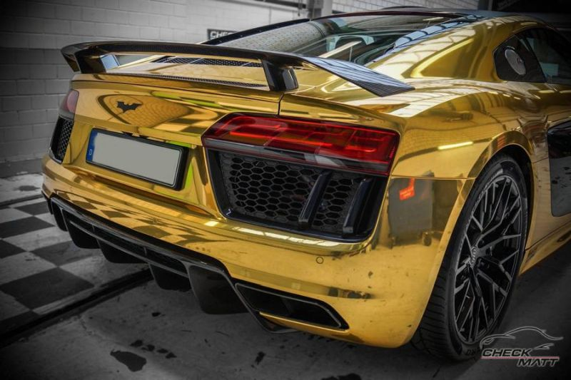 audi r8 gold chrom folierung check matt dortmund tuning 7. Black Bedroom Furniture Sets. Home Design Ideas