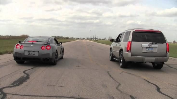 Dragerace 1.000PS Bi Turbo Cadillac Escalade vs. Nissan GT R Video: Dragerace   1.000PS Bi Turbo Cadillac Escalade vs. Nissan GT R