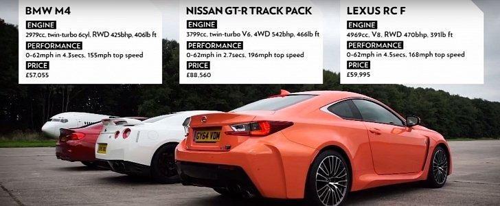 Dragerace - BMW M4 F82 vs. Nissan GT-R vs. Lexus RC-F