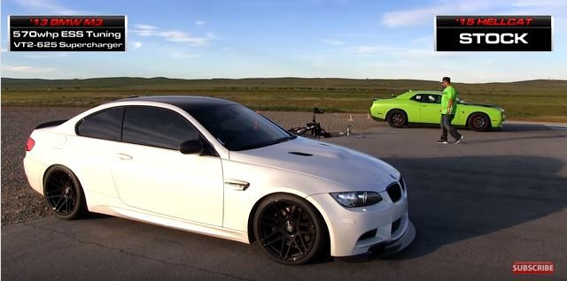 Dragerace Kompressor BMW E92 M3 vs. Dodge Challenger Hellcat Video: Dragerace   Kompressor BMW E92 M3 vs. Dodge Challenger Hellcat