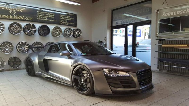 Folienwerk NRW Audi R8 Widebody Satin Grey Prior Design PD850GT Tuning 1 Folienwerk NRW Audi R8 Widebody in Satin Grey