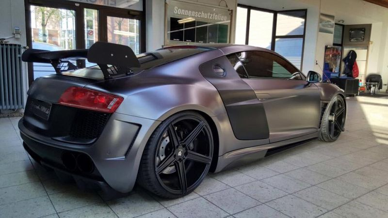 Folienwerk NRW Audi R8 Widebody Satin Grey Prior Design PD850GT Tuning 2 Folienwerk NRW Audi R8 Widebody in Satin Grey