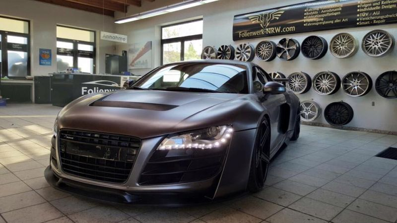 Folienwerk NRW Audi R8 Widebody Satin Grey Prior Design PD850GT Tuning 3 Folienwerk NRW Audi R8 Widebody in Satin Grey