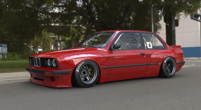 Bmw E30 With Fender Flares And Lowering