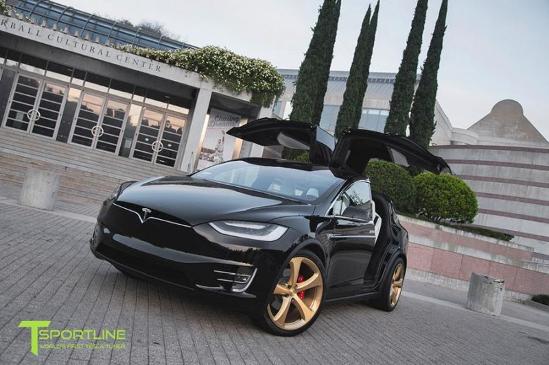 TSportline Ghost Gold MX5 Alufelgen Tesla Model X Tuning 1 TSportline Ghost Gold MX5 Alufelgen am Tesla Model X