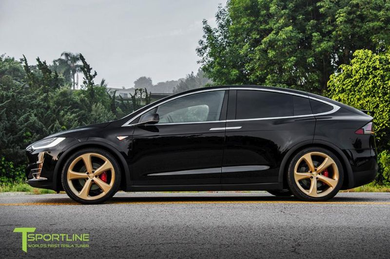 TSportline Ghost Gold MX5 Alufelgen Tesla Model X Tuning 3 TSportline Ghost Gold MX5 Alufelgen am Tesla Model X