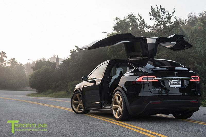 TSportline Ghost Gold MX5 Alufelgen Tesla Model X Tuning 4 TSportline Ghost Gold MX5 Alufelgen am Tesla Model X