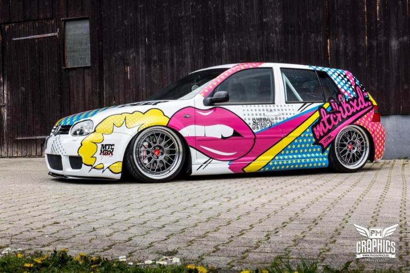 VW Golf 4 GTI Der Pop Art Golf SchwabenFolia MTCHBX DESIGNS Tuning 1 Crazy   VW Golf 4 GTI Der Pop Art Golf by SchwabenFolia
