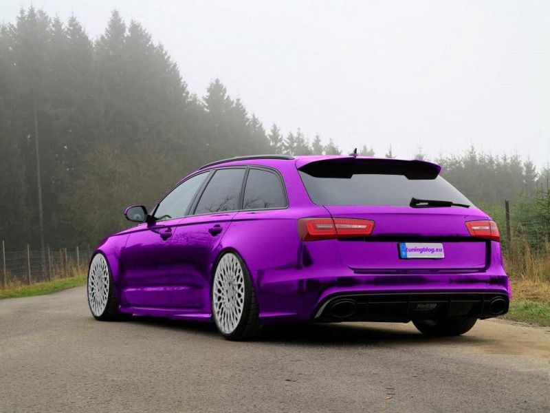 Audi A6 C7 RS6 Lila Chromfolierung wei%C3%9Fe Alufelgen tuning 1 Audi A6 C7 RS6 mit Lila Chromfolierung & weißen Alufelgen