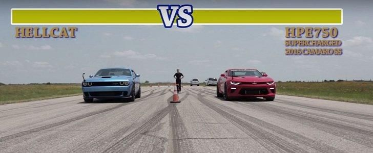 Dragerace Dodge Challenger Hellcat vs. Hennessey Camaro SS HPE750 Video: Dragerace   Dodge Challenger Hellcat vs. Hennessey Camaro SS HPE750