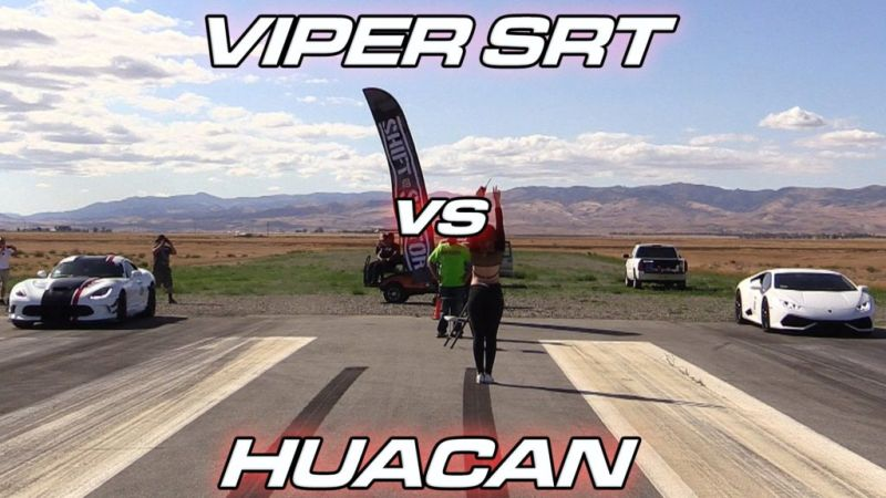 Dragerace Dodge Viper SRT vs. Lamborghini Huracan Video: Dragerace   Dodge Viper SRT vs. Lamborghini Huracan
