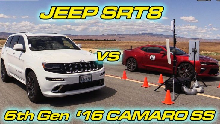 Dragerace Jeep SRT8 vs. 2016er Chevrolet Camaro SS Video: Dragerace   Jeep SRT8 vs. 2016er Chevrolet Camaro SS
