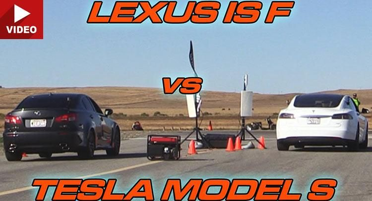Dragerace - Tesla Model S 70D gegen Lexus IS F