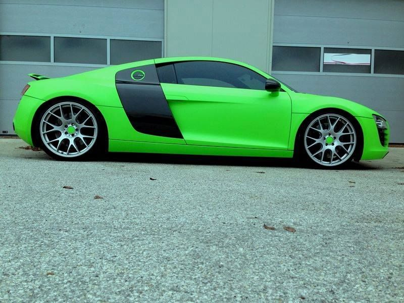 Fluorescent Neon Green Audi R8 V10 Plus tuningblog.eu  Slammed Neon Green Audi R8 V10 Plus by tuningblog.eu